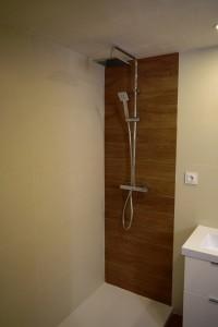grifería, azulejos, plato ducha, mueble y mampara baño